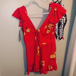 Red Floral Tie Flowy Romper Small